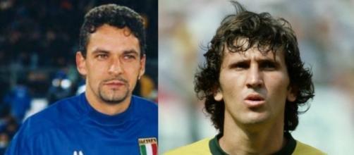 Baggio e Zico 'icone' dei due mondi, con le maglie di Italia e Brasile