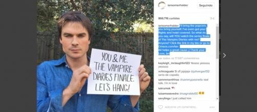 Ian Somerhalder em chamada para campanha em seu Instagram.