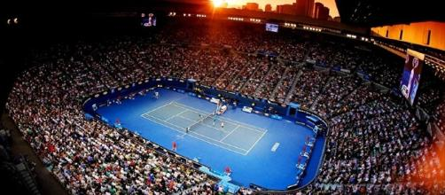 Rod Laver during the night session. Australian Open 101 & Court Style - rectennis.com (Taken from BN library)