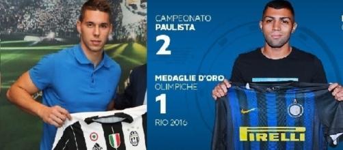 Marko Pjaca della Juventus e Gabigol dell'Inter a confronto