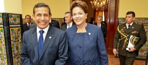 Dois ex-presidentes, Ollanta Humala, do Peru, e Dilma Rousseff, do Brasil, fotografados em 2011 (Roberto Stuckert Filho/PR)