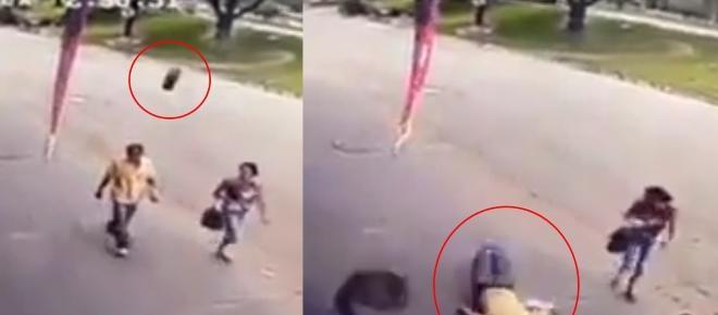 Homem de 50 anos é atingido na cabeça por um pneu; cenas fortes