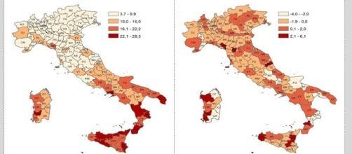 Indice e percentuale di occupazioni per aree urbane