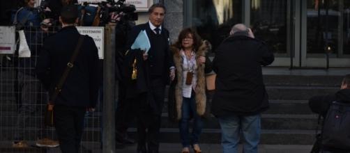 Patrizia Reggiani fuori dal tribunale. Quattrone