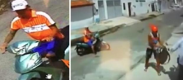 Câmera registra dois homens assaltando, um sem uma das pernas e o outro sem um dos olhos.