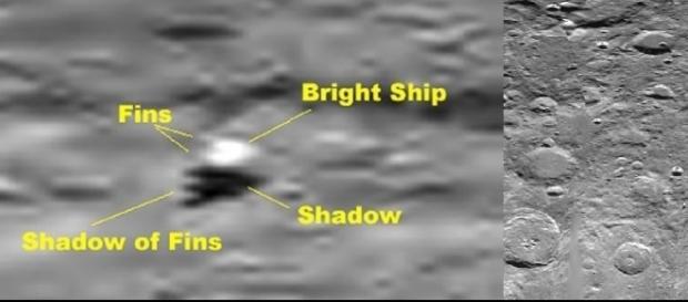 imagem da suposta estrutura alienígena construída sobre a superfície Lunar.