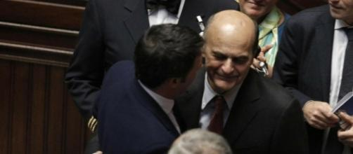 Matteo Renzi e Pierluigi Bersani alla Camera
