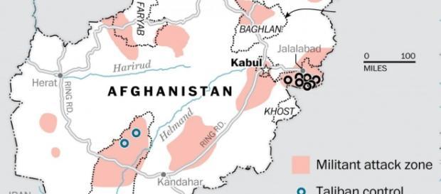 Áreas de expansão do Estado Islâmico no Afeganistão.