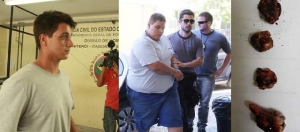 Matheus à esquerda e seu irmão gêmeo sendo presos. Ele assumiu participação e incrimina a mãe