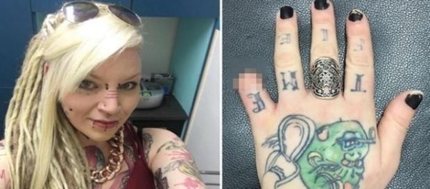 Na primeira imagem a jovem que tem inúmeras tatuagens e piercings pelo corpo, já na segunda a foto da mão com o dedo já sem a parte distal.