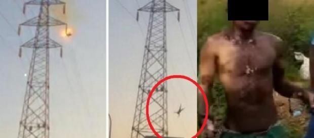 Vídeo: Jovem sobe na torre, leva choque e fica com corpo desse estado; veja