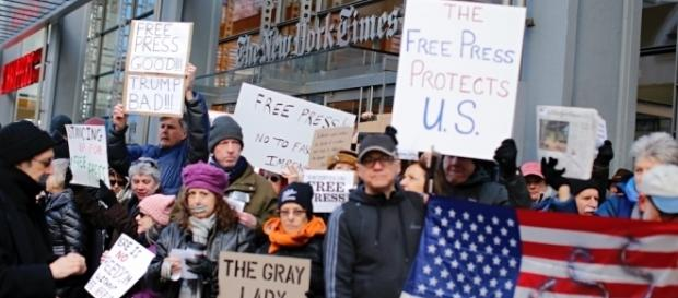 Protesters rally outside NYT in support of media | TheHill - thehill.com