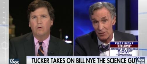 Tucker battles Bill Nye. Fox News (YouTube-Screencap)