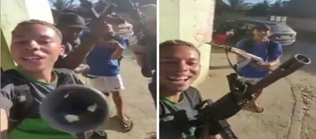 Bandidos menores de idade exibem metralhadoras em favela.