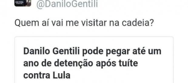Danilo Gentili pode ser condenado por postagem contra Lula (Via: @DaniloGentili)