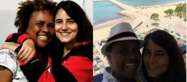 Sandra de Sá e a namorada Simone Malafaia