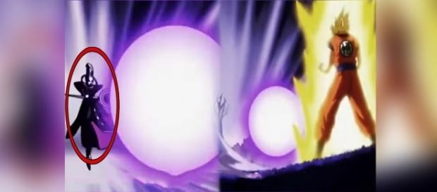 Whis ataca a Goku por primera vez.