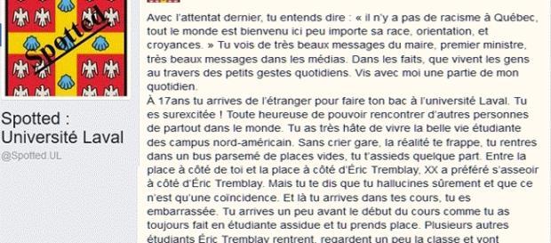 """À lire sans modération, la page de Spotted sur Facebook : ''après l'attentat de la mosquée de Québec, tu entends dire..."""""""
