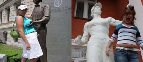 Fotos criativas tiradas com estátuas
