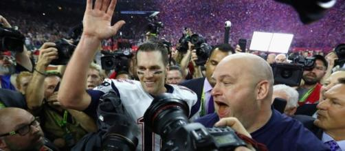 NE QB Tom Brady jubilant after leading the Patriots to their (and his) fifth Super Bowl victory over Atlanta./ Photo from 'The Sun' - thesun.co.uk