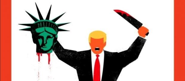 Donald Trump decapitando a Estátua da Liberdade em publicação alemã