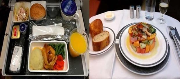 Veja a diferença das refeições em aviões separadas pela classe social