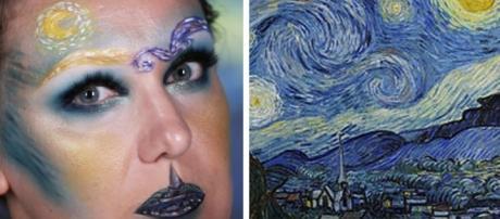Lexie Lazear recria quadro de Van Gogh em seu rosto (Reprodução: Youtube)