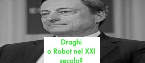 """Mariio Draghi, photo da Wikipedia modificata """"Poesia Visiva"""" nostra blaster Roby Guerra"""