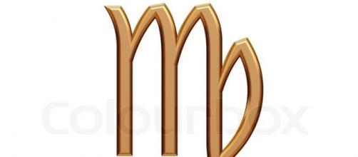 Virgo - golden astrological zodiac symbol isolated on white ... - colourbox.com