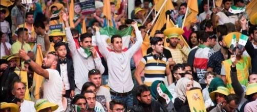 An estimated 100,000 MEK supporters including Iranian diaspora at Paris's annual MEK rally at Le Bourget, Paris 2016