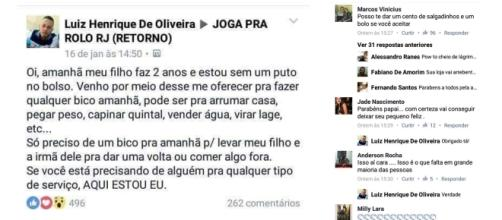 Luiz Henrique postou mensagem em um grupo do Facebook