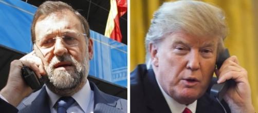 Rajoy y Trump hablando por teléfono