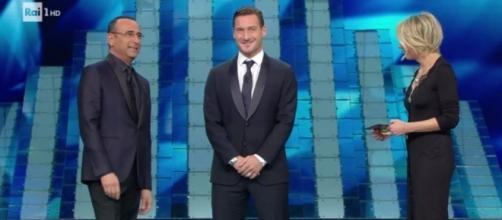 Festival di Sanremo, Francesco Totti con Carlo Conti e Maria De Filippi