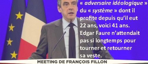 On croirait entendre Jean-Marie, Marine et Marion Le Pen : François FIllon, se gavant du système depuis 41 ans, le dénonce