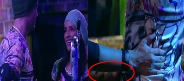 Marinalva bebe demais e apalpa Luiz Felipe (Foto: Reprodução/TV Globo)