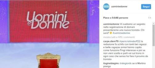 """Post su instagram della pagina ufficiale di """"Uomini e Donne""""."""