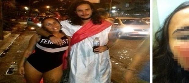Na imagem ela e o namorado curtindo o carnaval poucas horas antes de levar os socos no rosto.
