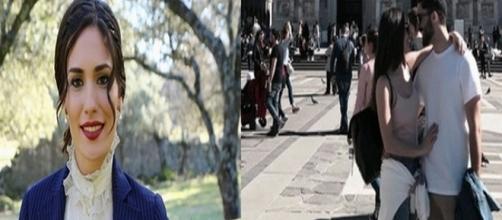 L'attrice spagnola Yara Puebla a Milano insieme a un ragazzo