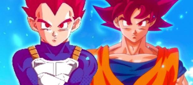 Goku y Vegeta convertidos en SSJGOD