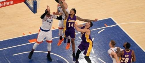 Tarik Black, Brandon Ingram and Larry Nance Jr. of the Los Angeles Lakers. Photo credit: Spectrum SportsNet (SpectrumSN) Twitter