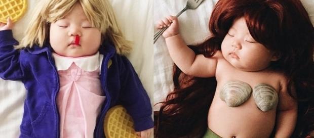 A fotógrafa aproveitou que a criança estava dormindo para tirar fotos incríveis