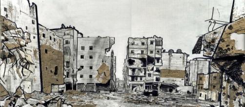 2013 artwork by Joshua Tabti, showing the destruction in Aleppo / Joshua Tabti, Flickr CC BY-SA 2.0