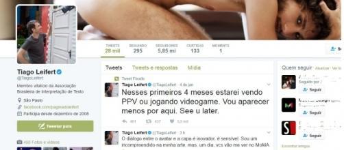 Tiago Leifert gostou da foto de Pedro Falcão nu e colocou no Twitter (Foto: Reprodução)