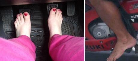Motoristas podem dirigir descalços sem problemas algum com a lei de trânsito.
