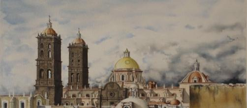 acuarela de la catedral de Puebla