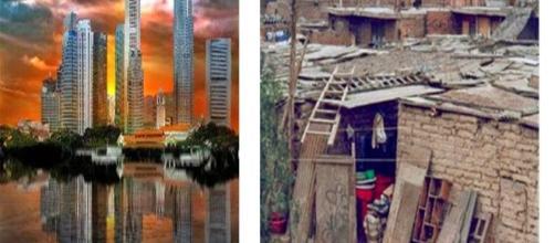 Riqueza y pobreza en países desarrollados y subdesarrollados.