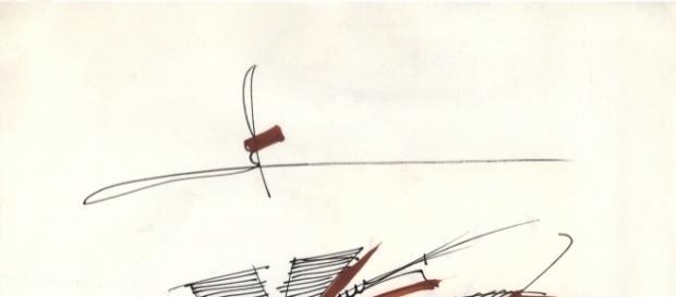 Alta Moda, A/I 1987, disegno in pennarello nero china e pennarello colorato su carta