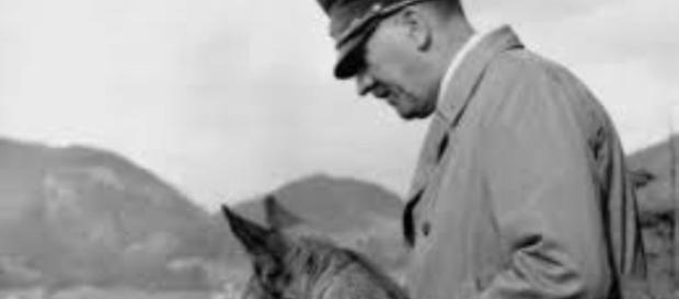 Hitler and his German shepherd Blondi FAIR USE pinterest.com Creative Commons