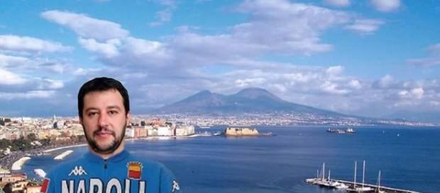 Matteo Salvini a Napoli rappresentato in fotomontaggio