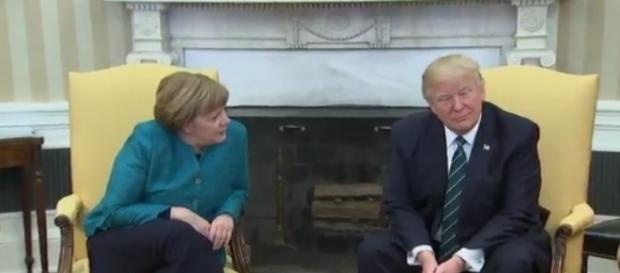 Donald Trump and Angela Merkel, via Twitter
